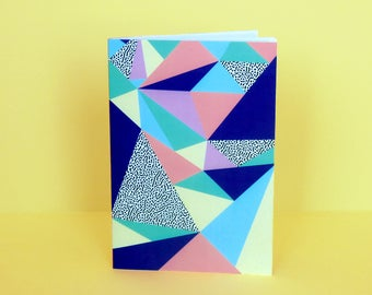 "Notebook with geometric patterns, Memphis patterns, ""Babel"" 11,5 x 17 cm, 60 sheets, handmade in France"