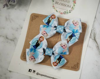 1pair frozen double bow hair clips st3 - hair accessories - baby hair clips - girls hair clips - handmade by sugrblossom