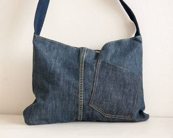 Jeans purse with patch pockets - repurposed denim - ready to ship!