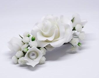 Flower headpiece, bridal headpiece, wedding headpiece, wedding hair accessories, flower hair clip