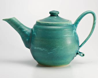 Hand Thrown Stoneware Aqua Blue Teapot