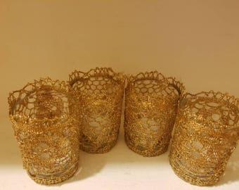 Gold lace votive holders