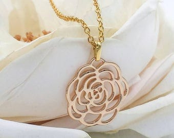 Gold Flower Filigree Necklace, Camellia Rose Pendant Necklace, Wedding Bridal Bridesmaid Mom Gift For Her