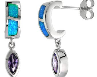 Sterling Silver Blue Opal Dangle Earrings Amethyst