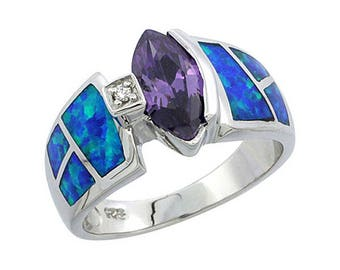 Sterling Silver Blue Opal Statement Ring Amethyst CZ Accent