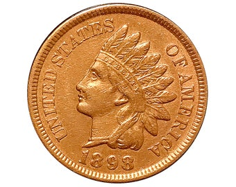 1898 Indian Head Cent - AU / BU - 3 1/2 Diamonds