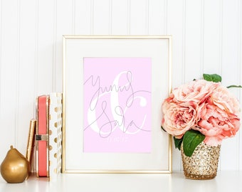 Custom A4 Name Couples Print Pink Minimalist