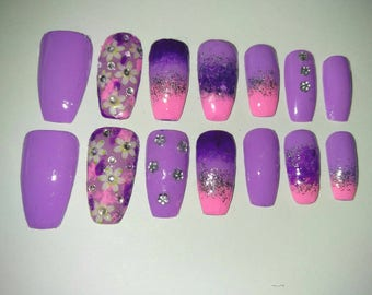 Set of 14 pink and purple