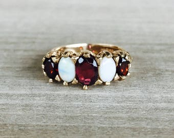 Garnet and opal 5 stone vintage ring in yellow gold