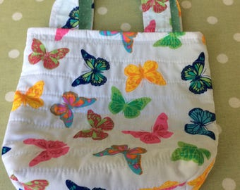 Mini Bag ,Butterflies, Lunch Bag, Child's Bag, Fabric, Quilted Bag