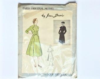 VERY RARE FF 1950s Designer Dress Sewing Pattern B30 : Vogue Paris Original Jean Desses 1166