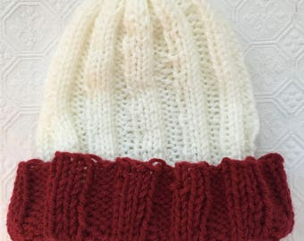 White and Red Knit Winter Hat