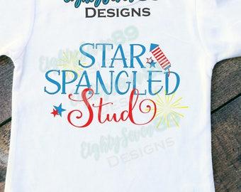 Star Spangled Stud Shirt; 4th of July Shirt; Memorial Day Shirt; Patriotic Shirt