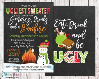 Tacky Ugly Sweater Christmas Party Invitation, Ugly Tacky Christmas Party, Ugly Christmas Party, Tacky Sweater Party, Eat Drink And Be Ugly