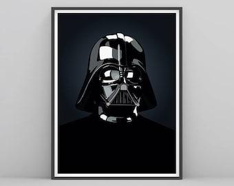 Darth Vader Portrait, Set of 2 star wars wall print, Printable Star Wars Collection, Star Wars Wall Decor, Nursery Print, Stormtrooper, R2D2