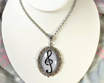 Treble Clef music note glass dome vintage style necklace
