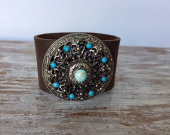 Boho cuff, leather cuff bracelet, brown leather bracelet, turquoise jewellery, gypsy bracelet, handmade by AnyaSophiaCo