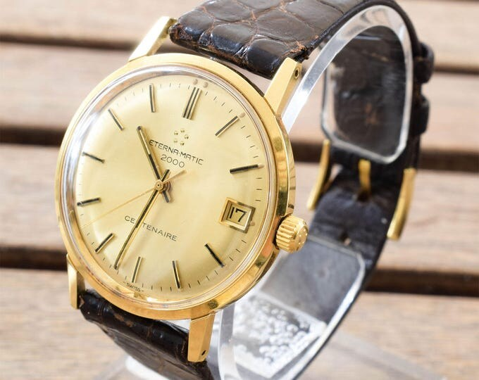 Vintage Eterna-Matic 2000 Centenaire, Vintage Automatic Watch, Gold Plated, Swiss Made Men's Watch, Vintage Watch, Works Fine, Free Shipping