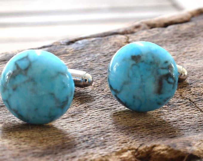 Blue Howlite Cufflinks, Gemstone Cufflinks, Silver Plated, Blue Cufflinks, Howlite, Wedding Gift, Birthday Gift, Anniversary Gift