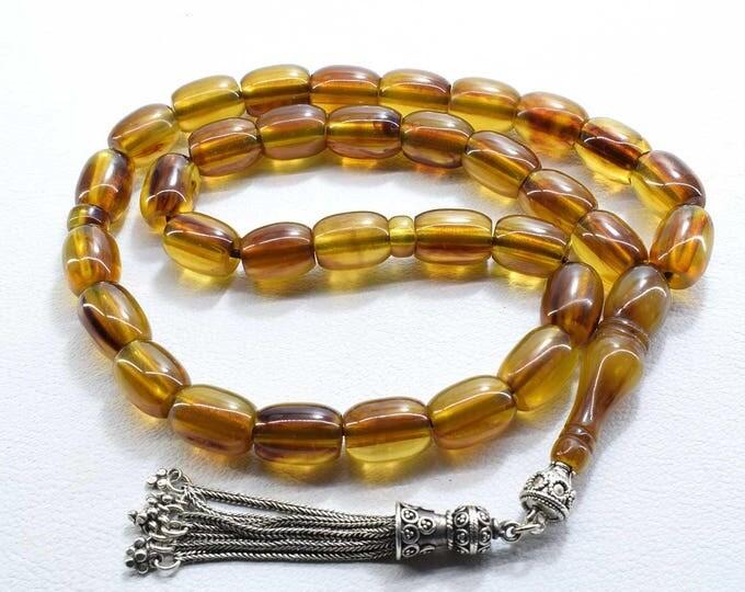 Brown Bakelite Faturan Tesbih, Vintage Islamic Prayer Beads, 33 Beads Tasbih Misbaha, Silver Tassel, مسبحة, Vintage Bakelite, Free Shipping