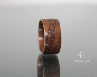 Bentwood ring Walnut Kupfer points