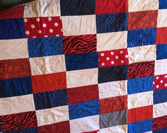 Red White Blue Lap Quilt....FREE SHIPPING