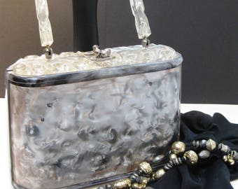CHARLES S. KAHN, Florida, Lucite Purse, 1950s, Gray Pearlized, Clear Lucite, Carved Top and Handle, Box Purse, Curved Handle, Unique, Rare