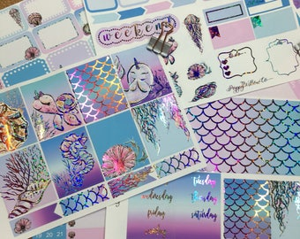 Under The Sea with Premium Rainbow Glitter or Gold Glitter Foil CLASSIC HAPPY PLANNER Weekly Decorative Sticker Set