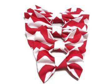 white bow tie red checvron pattern for dogs large breeds catn and oner matching FREE GIFT