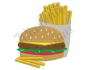 Burger And Fries - Machine Embroidery Design