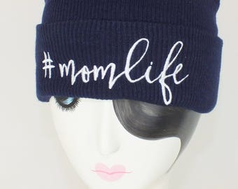 Mom life Cuff knit beanie - #momlife hat - Mother's Day gifts - Gifts for her