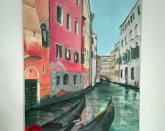 Original oil painting on canvas VENICE scenery, made in Italy