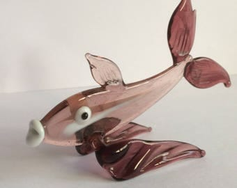 1960s Brown Glass Fish Figure