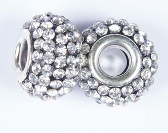 2 beads style European o15 gray with white crystals