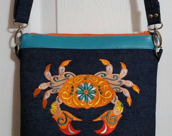 Embroidered Crab Purse (made in USA)