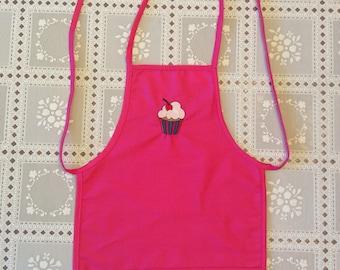 Pink Apron, cupcake apron, pink kids apron, pink childs apron, pink girls apron, baking apron
