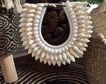 Hampton's Boho Beach Tribal Shell Necklace on Stand