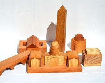 Washington skyline, Wooden building blocks set, Wood cityscape, Wooden organic 3D toy, Waldorf miniature houses, Birthday gift, Home decor