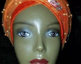 Orange beaded embroidery  velvet turban
