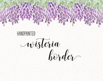"Watercolor Wisteria Border Clip Art - 12"" INSTANT DOWNLOAD - hand painted wedding 
