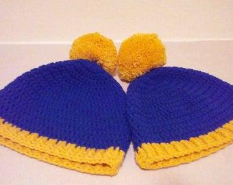 Blue and Yellow Pom Pom  Beanie (Ready To Ship)
