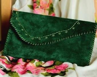 Green velvet leather bag