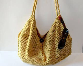 Crocheted Summer bag Handmade bag shoulder bag crossbody bag Cotton bag beach bag tote bag messenger bag women's bag gift for her