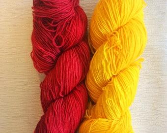 Hand Dyed Yarn - Fingering Yarn - Sock Yarn - Gift For Knitters - Geek Yarn - Nerd Yarn - Fight Like A Girl Kit