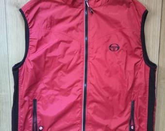 Sergio Tacchini Vintage Mens Tracksuit Top Vest Sleeveless Singlet Jacket
