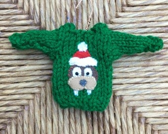 Knitted Walrus Ornament, Hand-knit Christmas Ornament, Miniature Sweater Ornament, Santa Walrus, Walrus Lover Animal Lover, Christmas Walrus