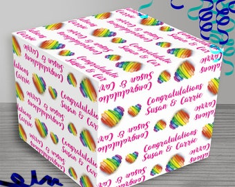 Personalized Rainbow Love Wrapping Paper