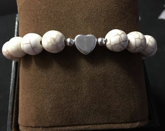 White turquoise with sterling silver heart