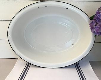 Vintage White Enamelware Basin - oval