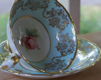 Vintage Blue and Gold Paragon by Appointment Fine English China Teacup